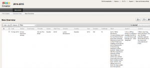 Screenshot of the Zoho database view