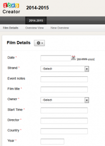 Screenshot of part of the Zoho input form