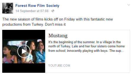 A trailer link on an event page
